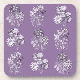 Monochrome flowers in lavender drink coaster