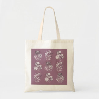 Monochrome flowers in mauve tote bag