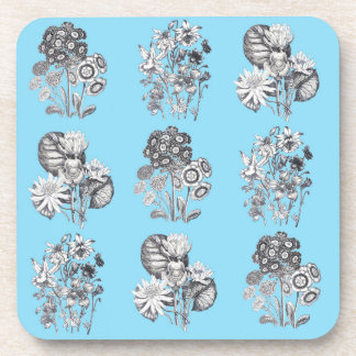 Monochrome flowers on baby blue background coaster