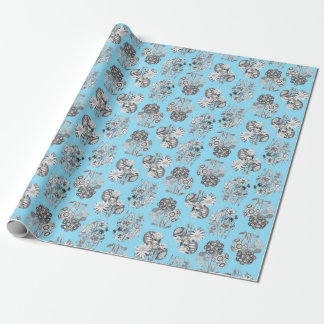 Monochrome Flowers on Baby Blue Ground Giftwrap Wrapping Paper
