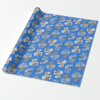 Monochrome Flowers on Bright Blue Ground Giftwrap Wrapping Paper