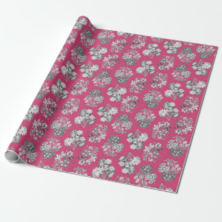 Monochrome Flowers on Cerise Background Giftwrap Wrapping Paper
