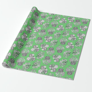 Monochrome Flowers on Green Background Giftwrap Wrapping Paper