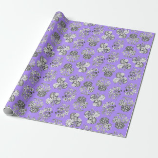 Monochrome Flowers on Lilac Background Giftwrap Wrapping Paper