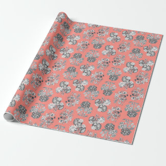 Monochrome Flowers on Peach Background Wrapping Paper