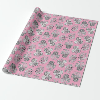 Monochrome Flowers on Pink Background Giftwrap Wrapping Paper