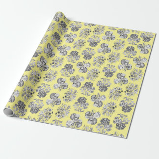 Monochrome Flowers on Yellow Background Giftwrap Wrapping Paper
