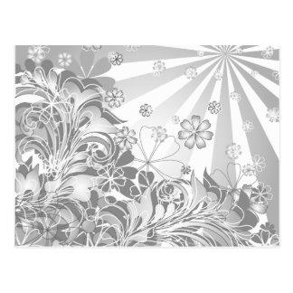monochrome flowers postcard