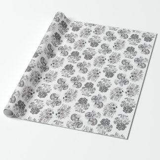 Monochrome Flowers Wrapping Paper