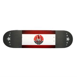 Monochrome French Polynesia Flag Custom Skateboard