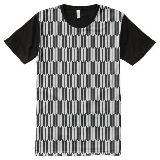 Monochrome Geometric Pattern All-Over-Print T-Shirt
