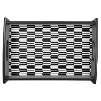 Monochrome Geometric Pattern Serving Tray