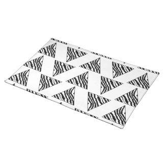 Monochrome Geometric Pattern with Zebra Stripes Cloth Placemat