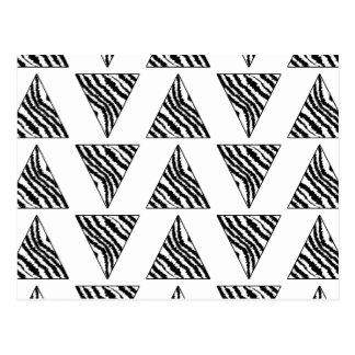 Monochrome Geometric Pattern with Zebra Stripes Postcard