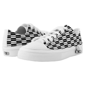 Monochrome Geometric Pattern Zipz Low-Top Sneakers