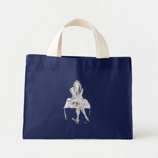 Monochrome girl sitting down canvas bags