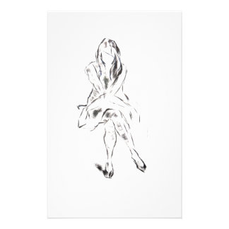 Monochrome girl sitting down stationery