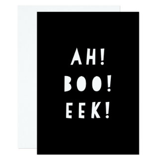 Monochrome Halloween Invitation | AH BOO EEK!