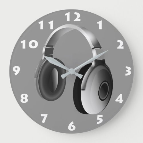 MONOCHROME HEADPHONES WITH WHITE NUMERALS LARGE CLOCK