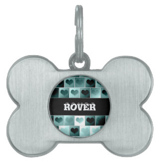 Monochrome hearts pattern pet tag