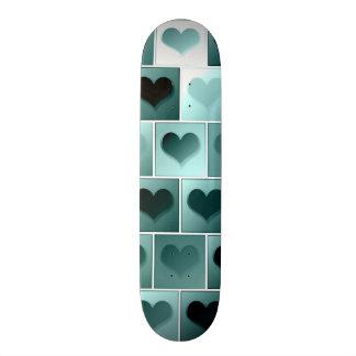 Monochrome hearts pattern skateboard deck