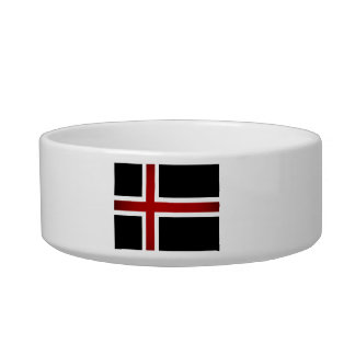 Monochrome Iceland Flag Pet Bowls