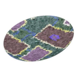 Monochrome in Green, Mauve & Cream Plate