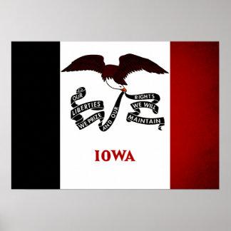 Monochrome Iowa Flag Print