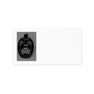 Monochrome Jack O Lantern Pumpkin Label