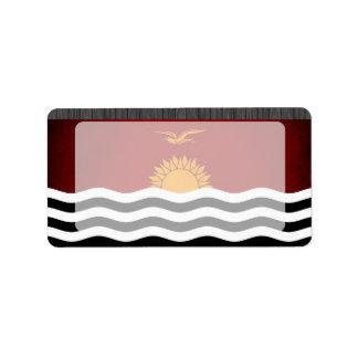 Monochrome Kiribati Flag Custom Address Label