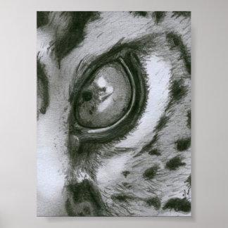 Monochrome Leopard Eye Poster
