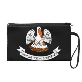 Monochrome Louisiana Flag Wristlet Purse