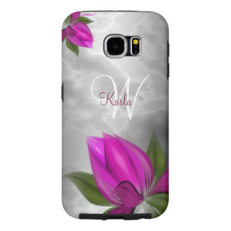 Monochrome Marble Pink Floral Samsung Galaxy S6 Case