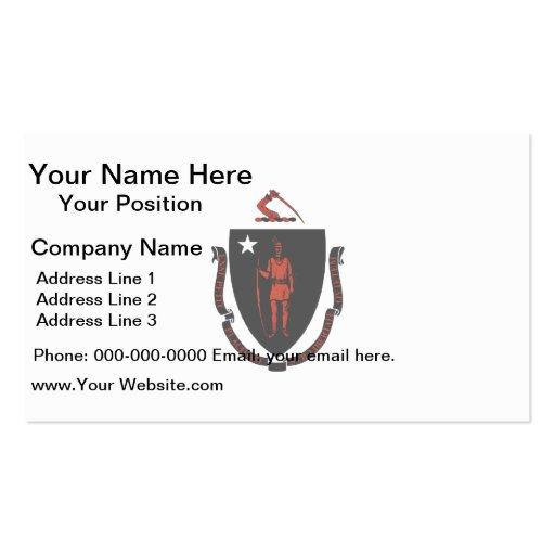 Monochrome Massachusetts Flag Business Card