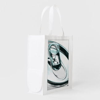 Monochrome Metallic Blue Opened Beverage Can Top Market Totes