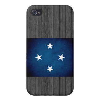 Monochrome Micronesia Flag Cases For iPhone 4