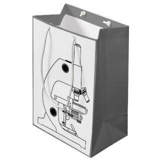MONOCHROME MICROSCOPE ILLUSTRATION MEDIUM GIFT BAG