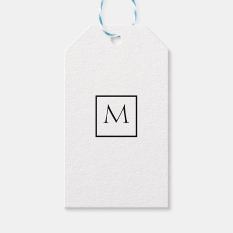 Monochrome Minimalist Rectangle Monogram Gift Tags