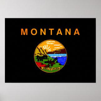 Monochrome Montana Flag Posters