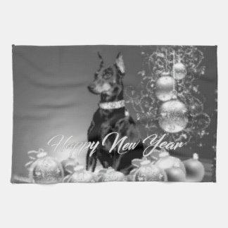Monochrome New Year Kitchen Towel