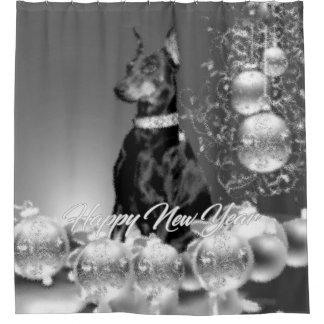 Monochrome New Year Shower Curtain