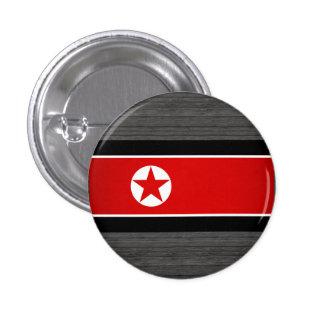 Monochrome North Korea Flag Pinback Button