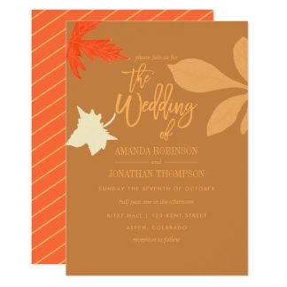 Monochrome orange Autumn Fall Wedding invitation