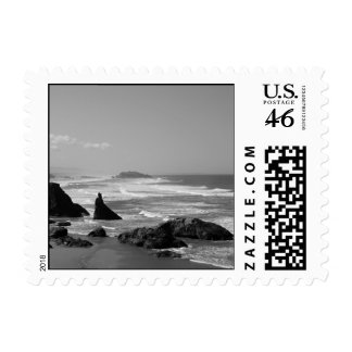 Monochrome Oregon Coastal Expanse Postage Stamp
