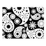 Monochrome Paisley Pattern Design. Postcard