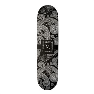 Monochrome Paisley with Initial Skateboard Deck