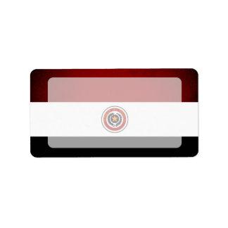 Monochrome Paraguay Flag Label