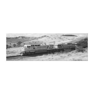 Monochrome Photograph - Outback Freight Train Canvas Print