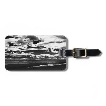 Beach Themed Monochrome Picture of Dornoch Beach Bag Tag