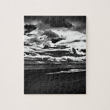 Monochrome Picture of Dornoch Beach Jigsaw Puzzle